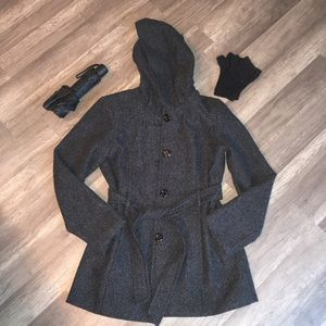 ⚡️New Item In! Croft & Barrow Grey Hooded Peacoat